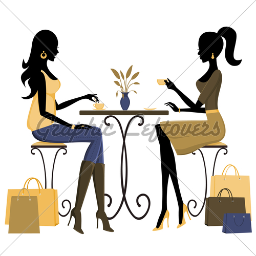 Two Young Fashionable Women Having Coffee After