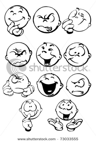 Vector Clipart Illustration Of Different Facial Expressions