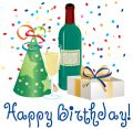 Birthday Hat Wine Wine Bottle And Present Clipart