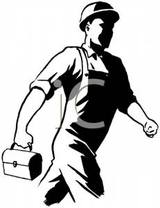 Black And White Cartoon Of A Construction Worker Headed To Work With
