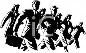 Black And White Cartoon Of A Group Of Office Workers Headed To Work