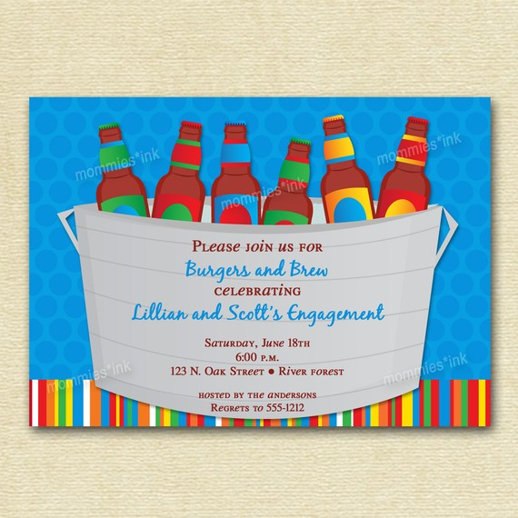 Bucket Of Beer Couples Shower Invite   Printable Invitation Design By