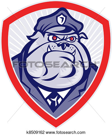 Cartoon Police Dog Watchdog Bulldog Shield K8509162   Search Clipart