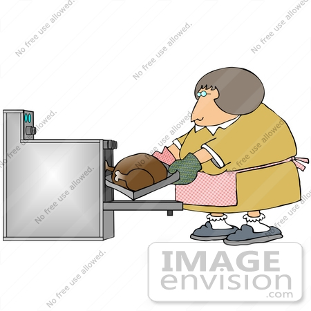 Clip Art Graphic Of A Woman Putting A Thanksgiving Turkey In The Oven