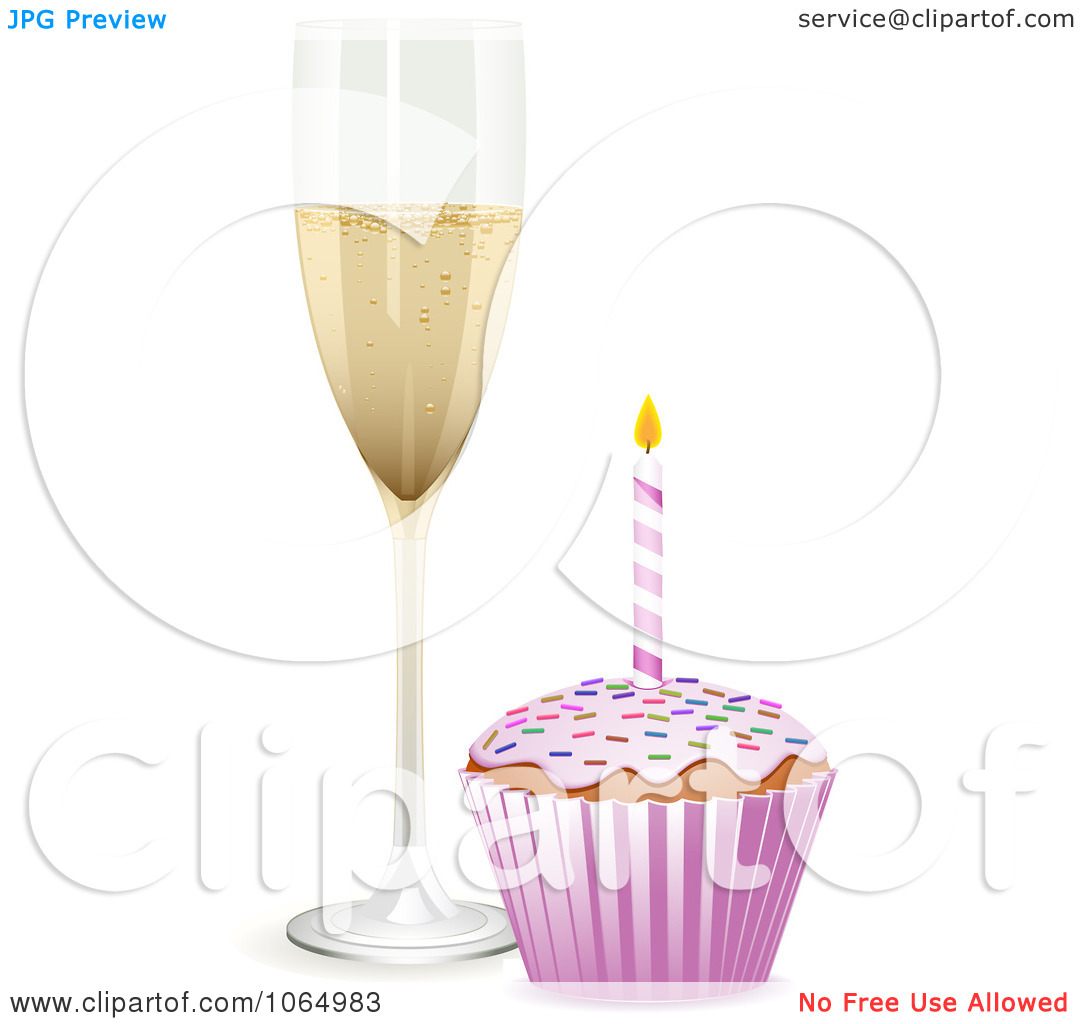 Clipart 3d Birthday Cupcake And Champagne   Royalty Free Vector