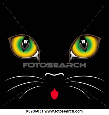 Clipart   Black Cat Eyes  Fotosearch   Search Clipart Illustration
