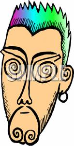 Clipart Image Of A Punk Man With Rainbow Hair And An Earring