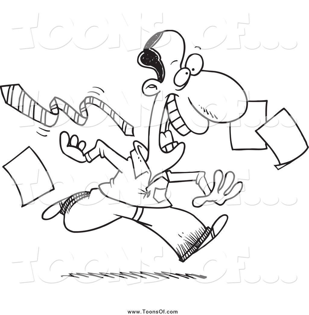 Clipart Of A Black And White Man Happily Leaving Work