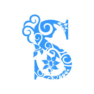 Design Of Flower Clipart   Blue Alphabet S With White Background