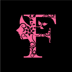 Design Of Flower Clipart   Pink Alphabet F With Black Background