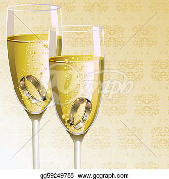 Eps Vector   Engagement Ring With Champagne Glass  Stock Clipart