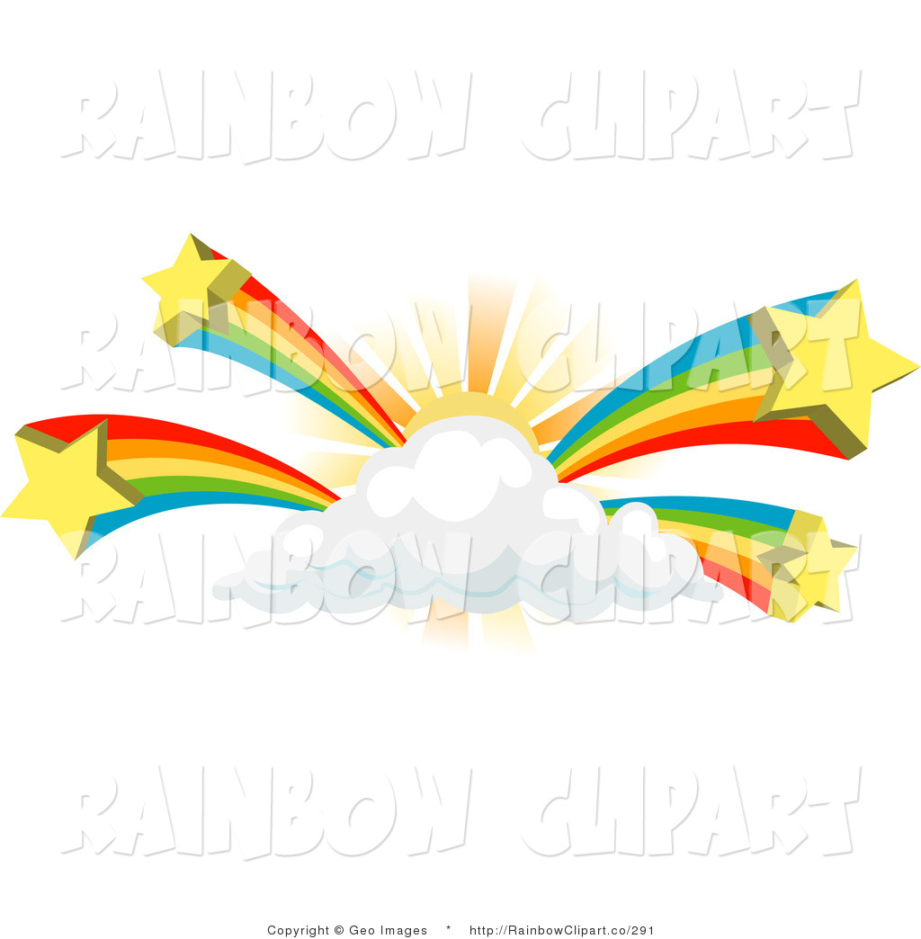 Rainbow With Clouds Outline