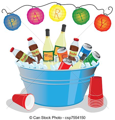 Vector Clipart Of Ice Bucket Party Invitation   Beer Wine And Soda In
