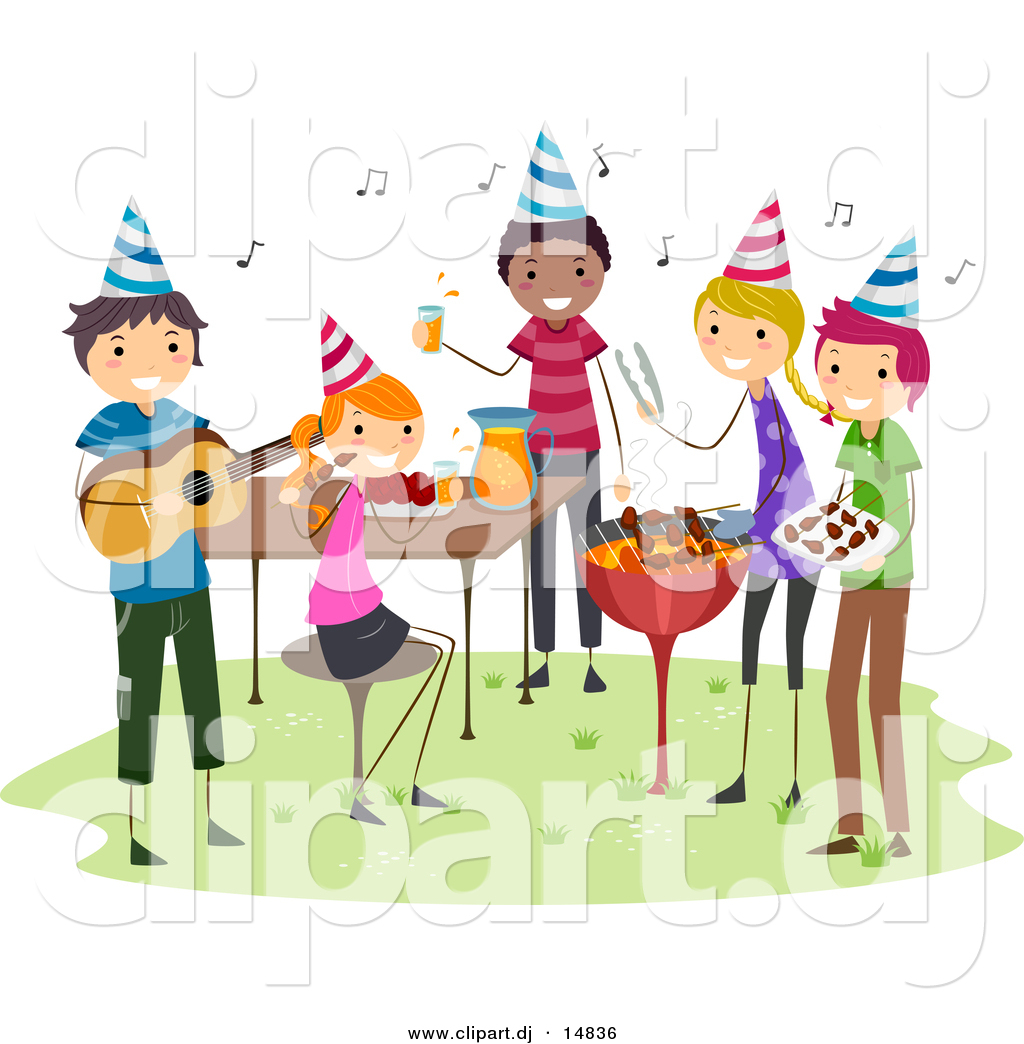 Cartoon Vector Clipart Of A Bbq Birthday Party With Happy People Image