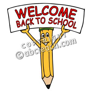 Clip Art  Cartoon Pencil W  Welcome Back To School Sign Color