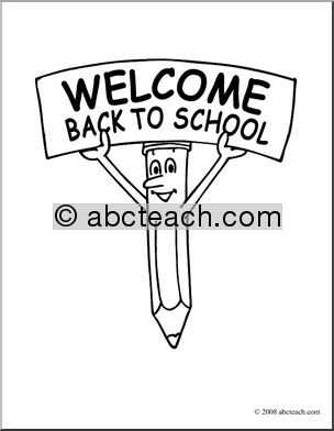 Clip Art  Cartoon Pencil W  Welcome Back To School Sign  Coloring Page