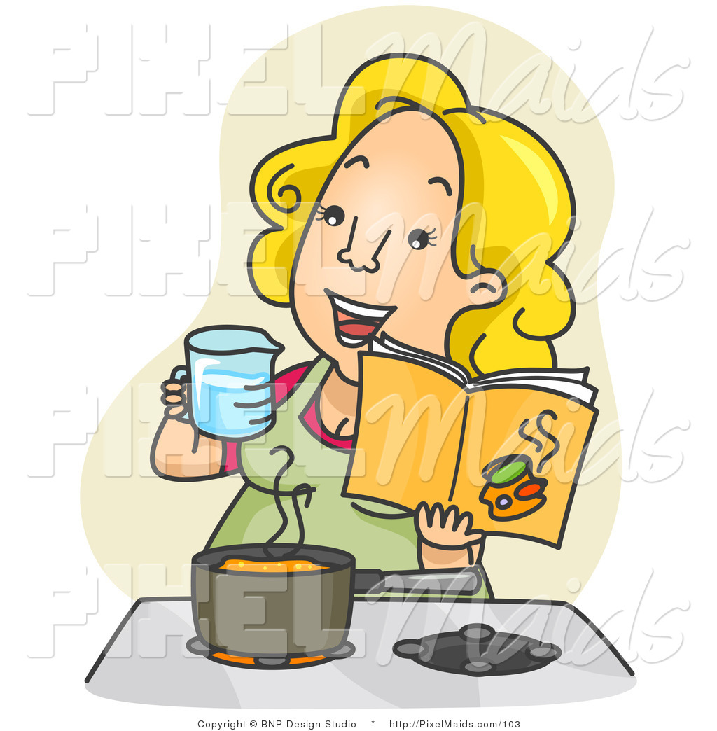 Clipart Of A Happy Woman Measuring And Cooking In A Kitchen From A