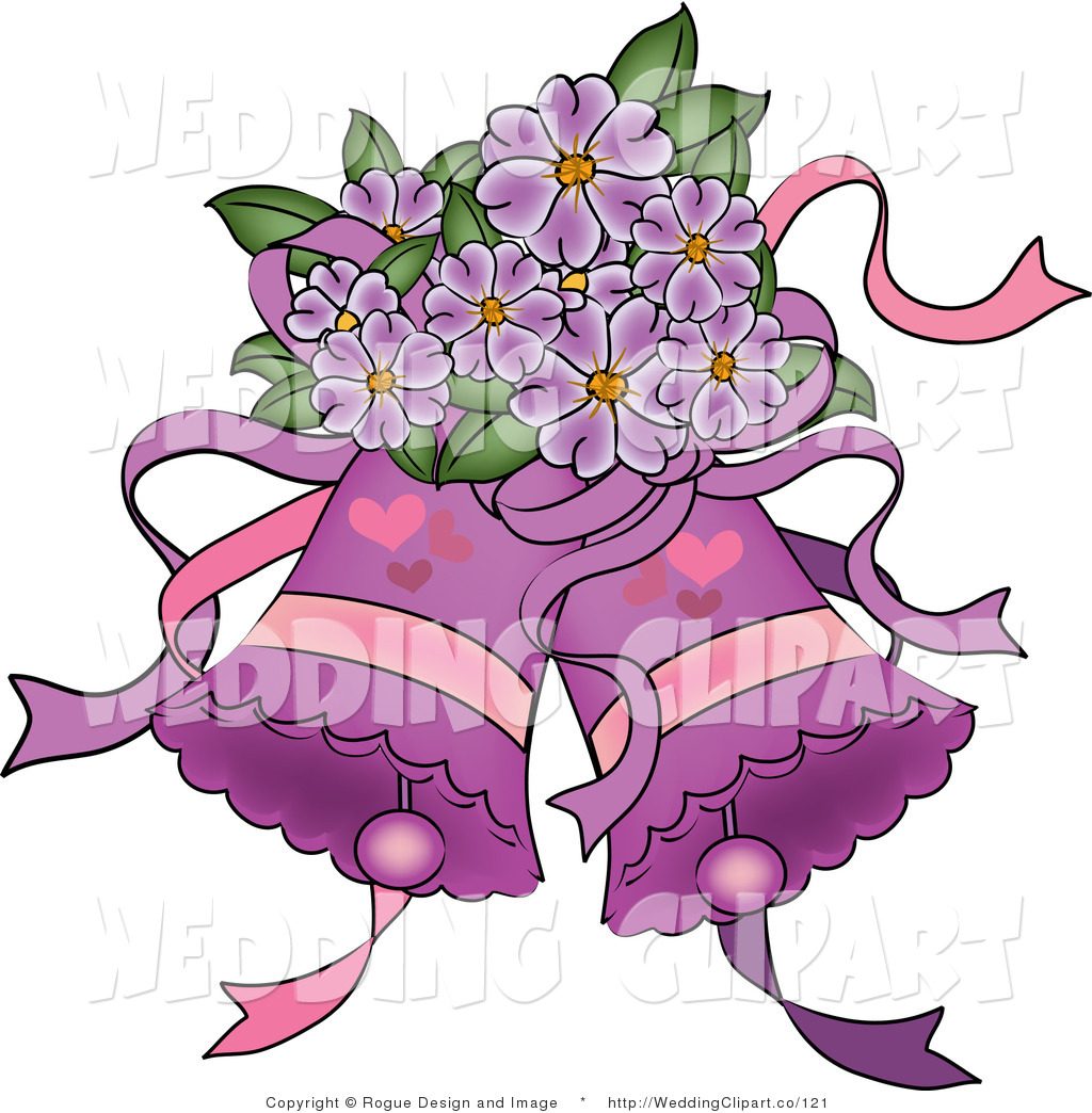 Clipart Of A Wedding Purple Bells With Hearts And Purple Flowers By