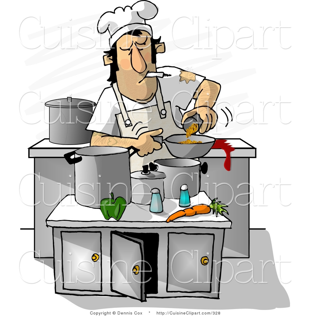 Cuisine Clipart Of A Dirty Cook Smoking While Cooking In A Kitchen By