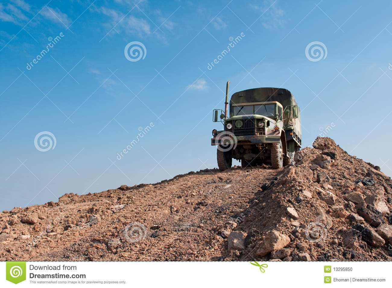 Military Truck On A Dirt Hill Stock Photo   Image  13295850