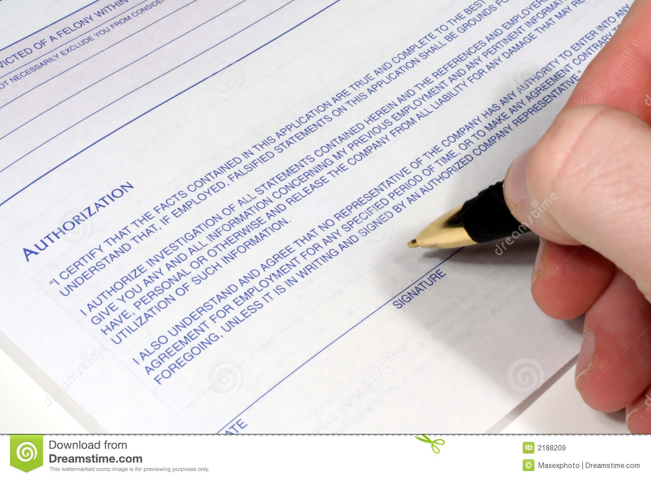 This Is An Image Of A Hand With A Pen Signing An Authroization Form