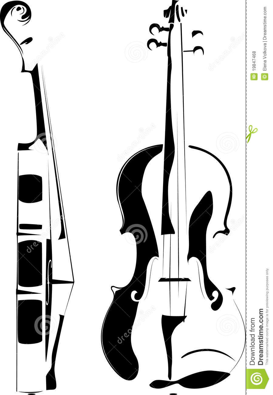 Violin Clipart Black And White Violin Contour White Black Background