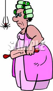 An Angry Woman With A Rolling Pin   Royalty Free Clipart Picture
