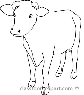 Animals   Cow Front View 4a Outline   Classroom Clipart