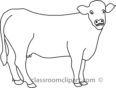 Animals   Cow In Pasture Outline   Classroom Clipart