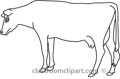 Animals   Cow Standing Near Flowers Outline   Classroom Clipart