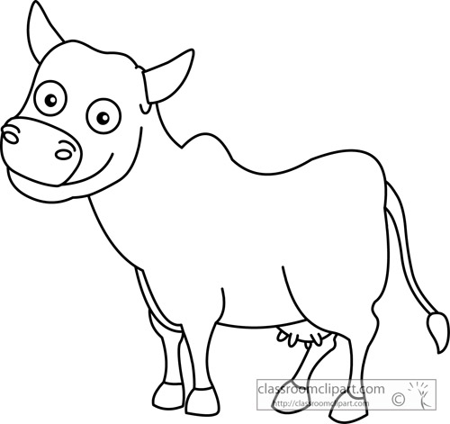 Animals   Cute Cow Outline 15a   Classroom Clipart
