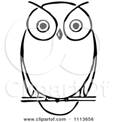 Clipart Vintage Black And White Owl   Royalty Free Vector Illustration