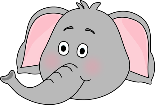 Elephant Face Clip Art Image Cute With Its Trunk Up Pictures