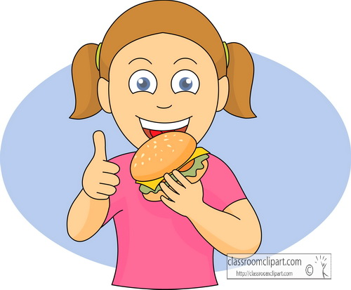 Fast Food Clipart   Girl Eating Hamburger   Classroom Clipart