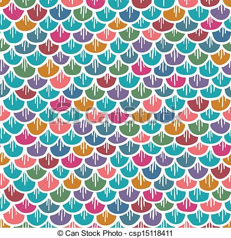 Fish Scales Seamless Pattern Colorful Cartoon   Csp15118411