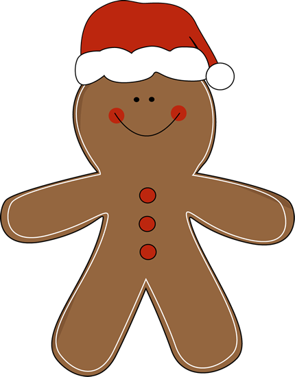 Gingerbread Man Wearing A Santa Hat Clip Art   Gingerbread Man