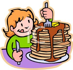 Girl Eating A Stack Of Pancakes For Breakfast   Royalty Free Clipart