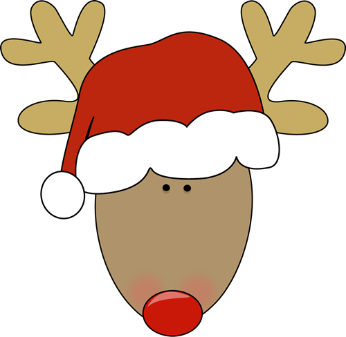 Head With Santa Hat Clip Art   Reindeer Head Wearing A Red Santa Hat