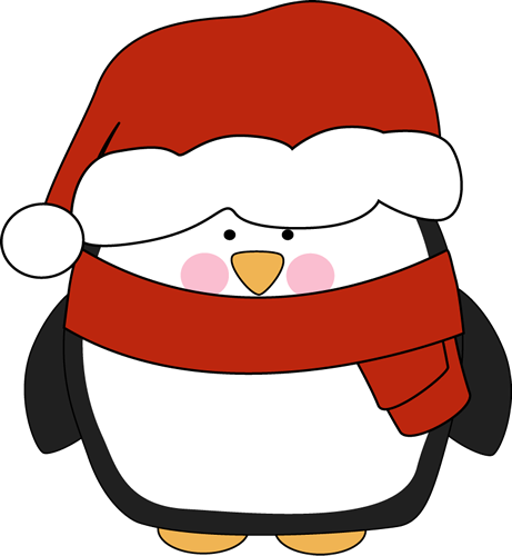In A Santa Hat Clip Art   Penguin With Rosy Cheeks Wearing A Santa Hat