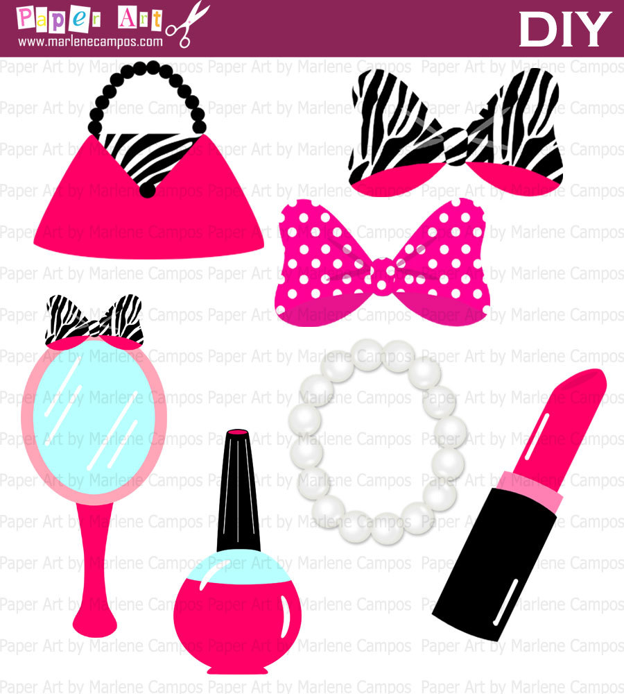Instant Download Minnie Zebra Beauty Accessories By Paperartbymc
