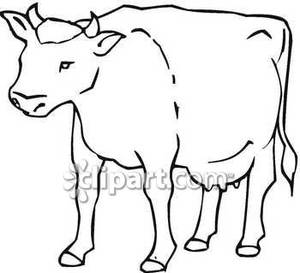 Outline Of A Fat Cow   Royalty Free Clipart Picture