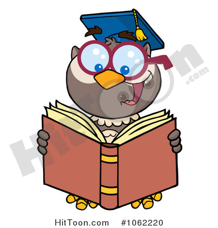 Owl Clipart  1062220  Professor Owl Reading   Royalty Free Vector