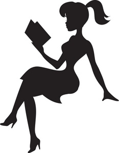 Reading Clipart Image   Silhouette Of A Pretty Young Lady Reading A