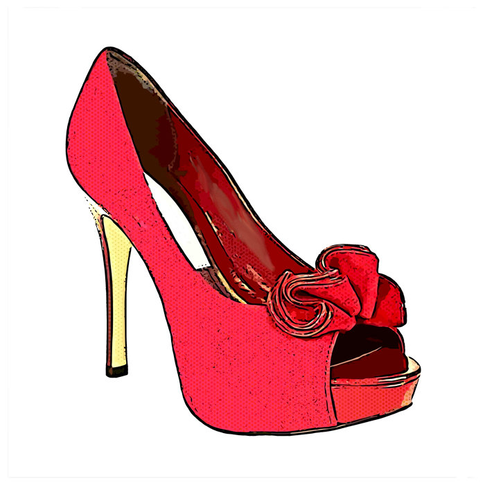 Red Bow High Heel Shoe Womens Fashion By Digitalgraphicsshop