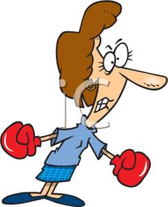 Royalty Free Clipart Image  An Angry Woman Wearing Boxing Gloves