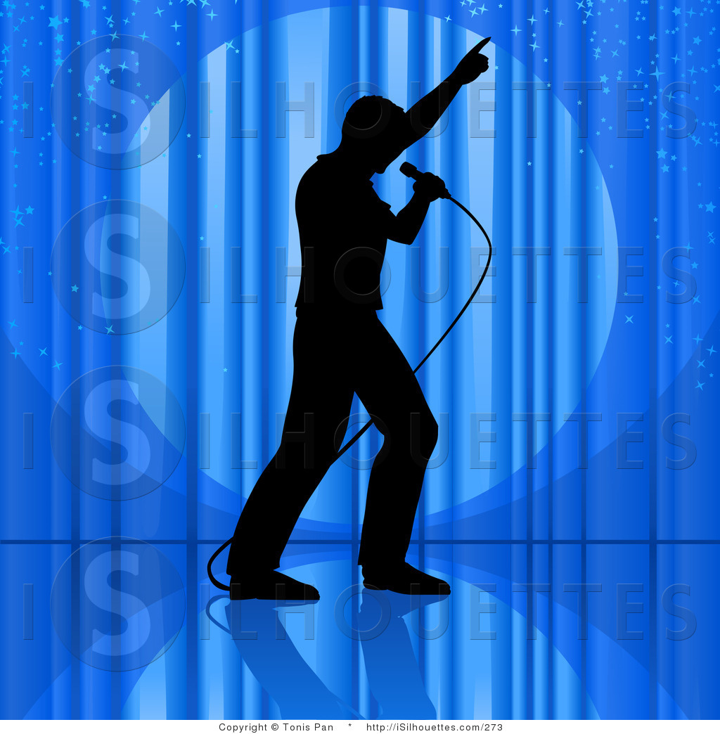 Silhouette Clipart Of A Silhouetted Man Dancing And Singing Into A