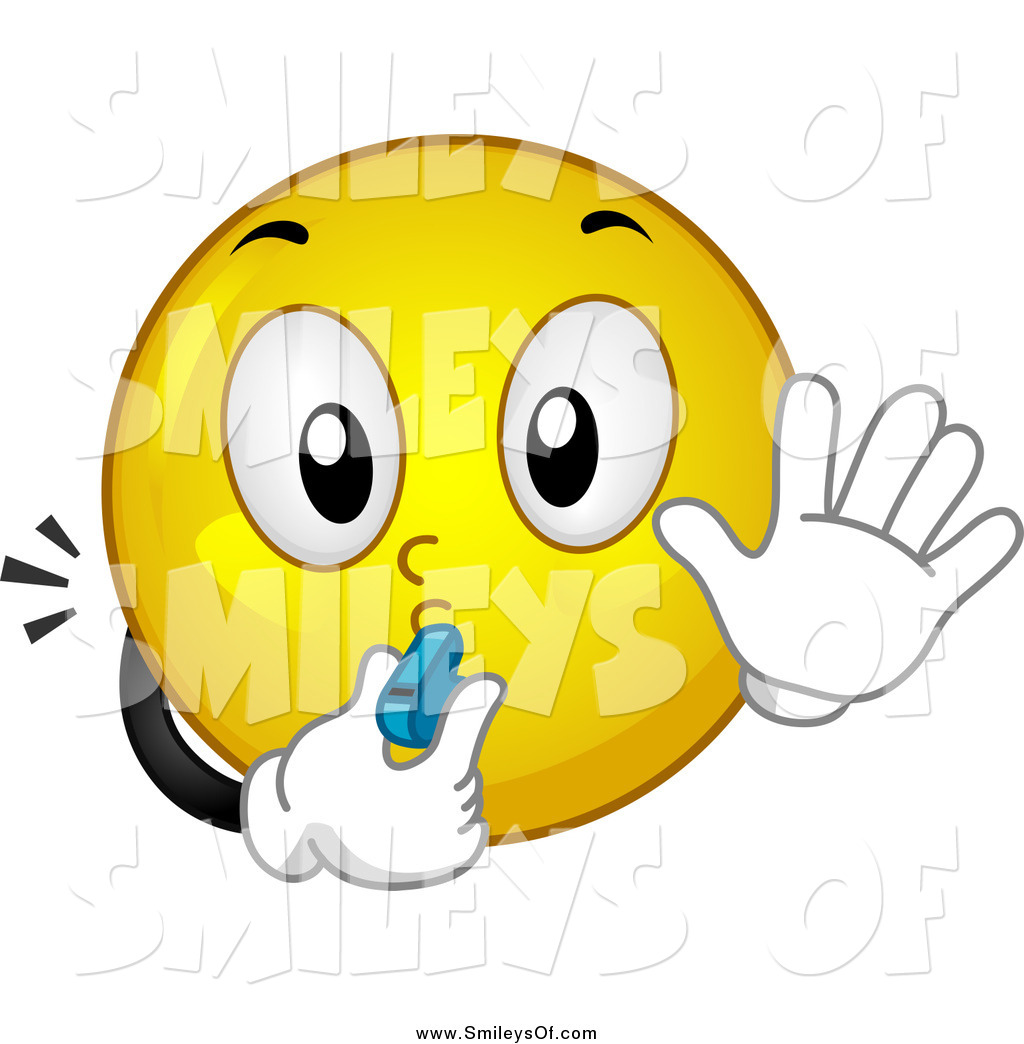 Vector Clipart Of A Smiley Blowing A Whistle And Gesturing To Stop By