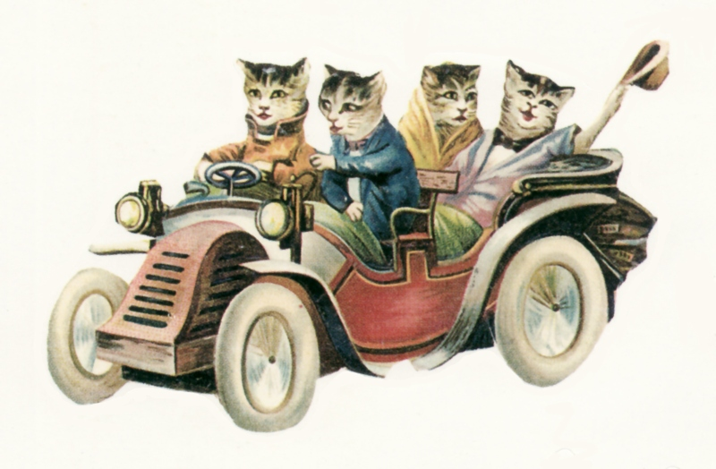 Vintage Driving Cats Graphic Clip Art