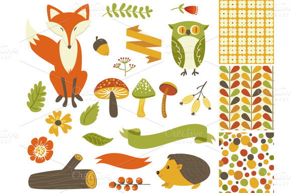 Woodland Fall Clip Artmushroomsfox   Illustrations On Creative