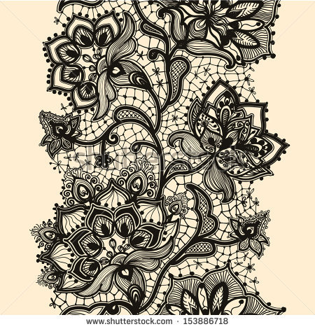 Abstract Lace Ribbon Seamless Pattern With Elements Flowers  Template